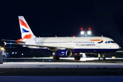 British. PRAGUE - JANUARY 21: Airbus A320 British Airways before taxi for take off from PRG Airport on January 21, 2016. British Airways is the flag carrier Stock Photography