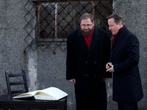 British Prime Minister David Cameron. AUSCHWITZ, POLAND - DECEMBER 10, 2014: British Prime Minister David Cameron during the visit in the Nazi concentration camp Stock Photo