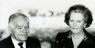 Yitzhak Shamir and Margaret Thatcher. British Prime Minister Margaret Thatcher appears to be biting her lip as she stands next to then Israeli Foreign Minister stock images