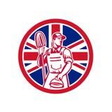 British Professional Cleaner Union Jack Flag Icon Royalty Free Stock Images