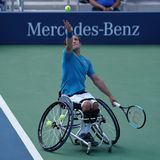 British professional wheelchair tennis player Gordon Reid in action during US Open 2017 Wheelchair Men`s Singles semifinal royalty free stock images