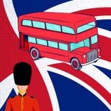 British red bus, Royal guard, flag UK. Royalty Free Stock Images