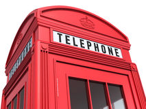 British red phone booth detail. 3d render British red phone booth close-up (isolated on white and clipping path Stock Photos