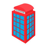 British red phone booth icon, cartoon style Stock Image
