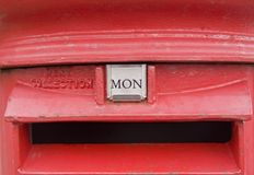 British Red Post Box Showing Monday Royalty Free Stock Photo