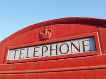 British Red Telephone Box. Close up Detail of the Word 'Telephone' on a Traditional British Red Phone Box Royalty Free Stock Images