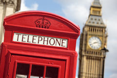 British red telephone box with Big Ben clock tower, London, UK Stock Images