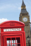 British red telephone box with Big Ben clock tower, London, UK Stock Photography