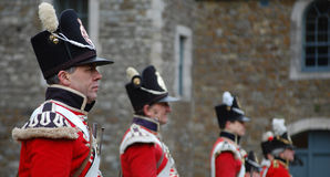 British Redcoats. KENT, UK, ROCHESTER CASTLE, circa May 2010. A group of british redcoat reenactment soldiers Stock Images