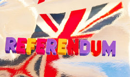 British referendum. Referendum on European Union membership currently under consideration by UK Parliament described with colorful uppercase letters and behind Stock Image