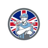 British Refrigeration Mechanic Icon. Icon retro style illustration of a British Refrigeration Mechanic, air conditioning or air-con serviceman holding manifold Stock Images