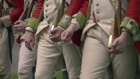 British Revolutionary War army marching stock footage