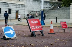 British Road closed signs. London  United Kingdom  -1 October  2017: British Road closed signs Royalty Free Stock Photo