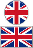 British round and square icon flag. Vector Stock Images