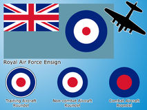 British Royal Air Force flags. Royal Air Force graphic theme, flag and aircraft roundel stock illustration