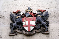 British royal coat of arm represents justice Stock Photo