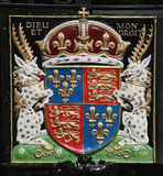 British royal coat of arms. Medieval version of the colorful royal coat of arms, introduced by King Henry IV in 1406 Royalty Free Stock Images