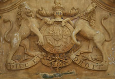 British Royal Coat of Arms 18th century. 18th century British Royal Coat of Arms Royalty Free Stock Images