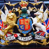 British Royal Coat of Arms. United Kingdom Royal Coat of Arms, featuring lion and unicorn Stock Photo