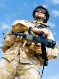 British Royal Commando. In desert uniform holding his rifle Royalty Free Stock Images