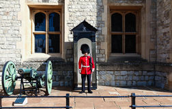 The British Royal guard in the London Tower on guard duty ,London, United Kingdom. Stock Photos