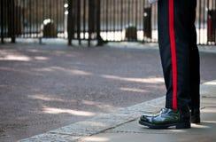 British Royal Guard, London, UK. Soldier of the British Royal Guard, watching an entry of Buckingham Palace, London stock image
