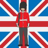 British royal guard with Union Kindom flag royalty free illustration