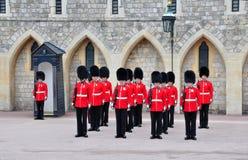 British royal guards. Royal guards changing at Windsor castle, UK Stock Photos