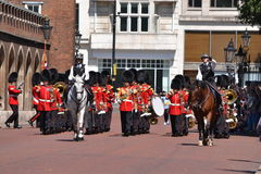 British Royal Guards marching St . Jamess Palace Royalty Free Stock Photography