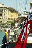 British sailboat. Beautiful blue hull yacht with British flag Stock Photography