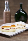 British Scone and Cream Bun Stock Image