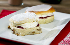 British Scone and Cream Bun Royalty Free Stock Images