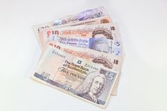 British and scottish Pounds banknote royalty free stock images