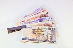 British and scottish Pounds  banknote Stock Photos