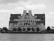 British Secret Service in London black and white. LONDON, UK - CIRCA JUNE 2017: SIS MI6 headquarters of British Secret Intelligence Service at Vauxhall Cross Stock Image