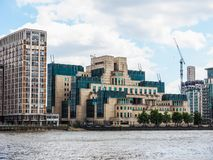 British Secret Service in London, hdr. LONDON, UK - CIRCA JUNE 2017: SIS MI6 headquarters of British Secret Intelligence Service at Vauxhall Cross London, high Stock Photo