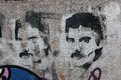 British singer Freddie Mercury depicted in a street graffiti. PRAGUE, CZECH REPUBLIC - DECEMBER 20, 2012: British singer Freddie Mercury, the lead vocalist of Stock Photos