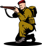 British soldier aiming a rifle. Vector illustration of a World war two British commando shooting a rifle Royalty Free Stock Photo