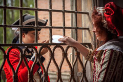 British soldier with girlfriend. British soldier, exchange love letters with his girlfriend. June 15, 2014, A day in the 700 - Association of Italian Marie stock images