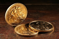 British Sovereign gold coins Stock Image