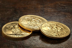 British Sovereign gold coins Royalty Free Stock Photos