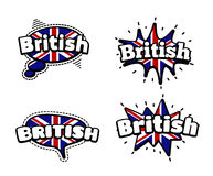 British Speech Bubbles. Fashion Patch Badge British Expressions, British Speech Bubbles. Set of British Stickers, Pins in Cartoon Comic Style vector illustration