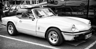 British sports car Triumpf Spitfire 1500 (black and white) Stock Photo