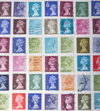 British Stamps. In different colours Stock Photos