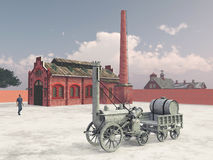 British steam locomotive from 1829 and train service station Stock Photos