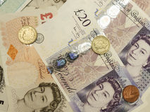 British Sterling Pounds. (GBP) banknotes and coins stock photo
