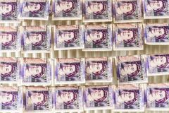 British Sterling Pounds Notes On Clothes Dryer. Money Laundering Concept Royalty Free Stock Images