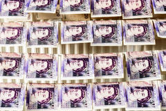 British Sterling Pounds Notes On Clothes Dryer. Money Laundering Concept Royalty Free Stock Photography