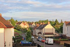 British street with social housing. In summer time Stock Photography