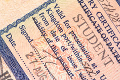 British Student Visa. Image of an old British student visa issued in the 1980s Stock Photo